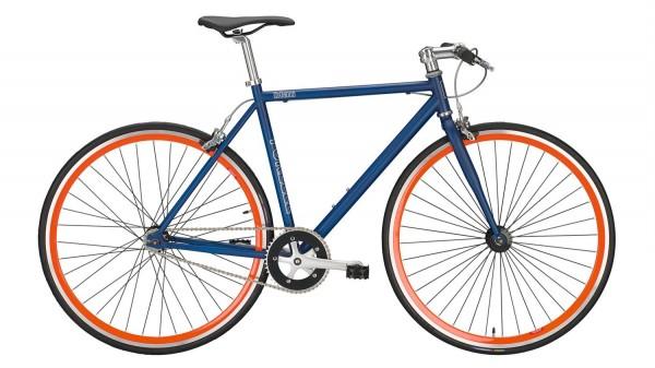 """FORELLE Rennrad """"Blau"""" Mod.19, Fixie 28"""", blau/orange, 1-Gang Freilauf, Rahmenhöhe 53 cm"""